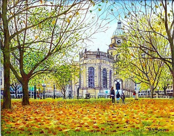 Birmingham Cathedral In Autumn By Roger Turner