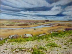 Moody Morning at Chesil Beach Watercolour and Pastel Painting By Roger Turner