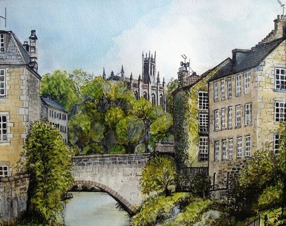 Church Bridge Watercolour Painting By Roger Turner