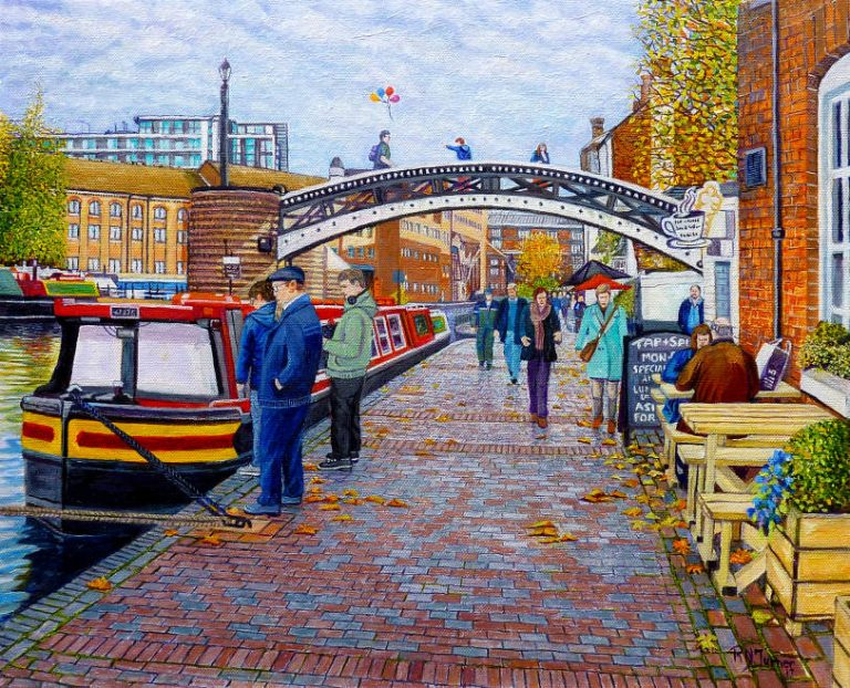 Gas Street Basin Basin Birmingham In Autumn By Artist oger Turner