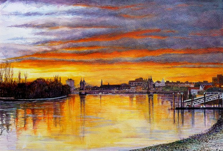 Hammersmith Bridge Sunset Watercolour Painting By Roger Turner