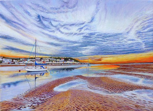 Torridge River Sunset at Instow Oil Painting By Roger Turner
