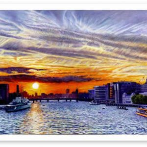 Limited Edition Giclée Print of Jet Trail Sunset Over The Thames