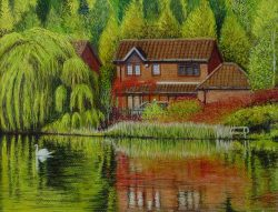 Lakeside House With Swan