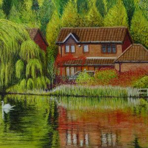 Lakeside House With Swan Pastel Painting Paper
