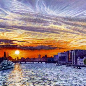 Jet Trail Sunset Over The Thames