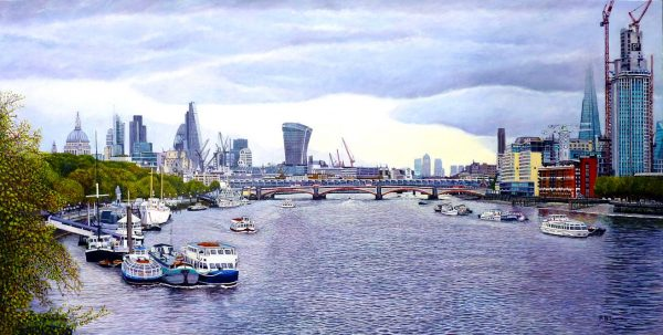 London Panorama. The Thames Towards Blackfriars Bridge. Oil Painting by Roger Turner