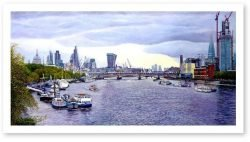 Limited Edition Giclée Print of London. The Thames Towards Blackfriears Bridge