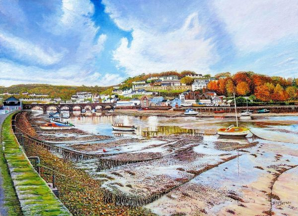 Looe River At Autumn Low Tide Cornwall Oil Painting By Roger Turner