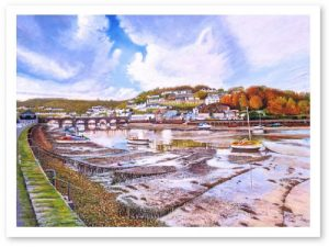 Limited Edition Giclée Print of Looe River at Autumn Low Tide