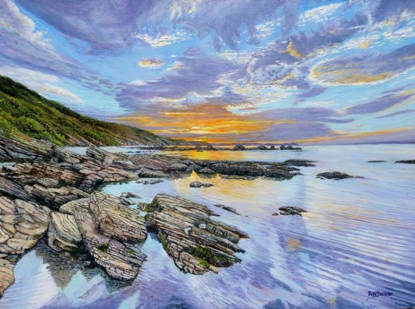 Sunrise Millendreath Beach Looe and Bodigga Cliffs Oil Painting By Roger Turner