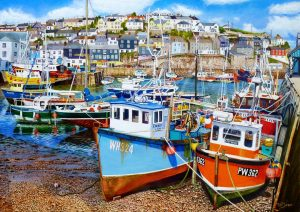 Mevagissey Harbour At Low Tide Original Oil Painting by Roger Turner