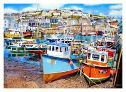 Signed Open Edition Giclée In-House Print of Mevagissey Harbour At Low Tide