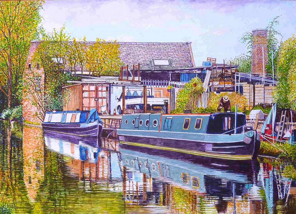 Moored Canal Boats Watercolour Painting By Roger Turner Of The Canal Near Brierley Hill West Midlands