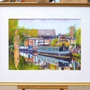 Moored Canal Boats in an Industrial Landscape
