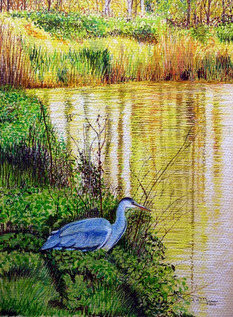 On The Menu Pastel Painting On Paper By Roger Turner