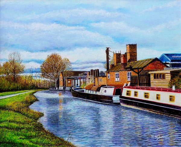 Canal Boats Brierley Hill Acrylic Painting