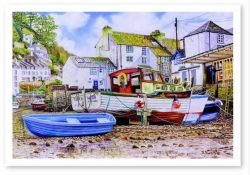 Signed Open Edition Giclée Prints of Polpero Harbour At Low Tide