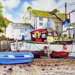 Polperro Harbour At Low Tide