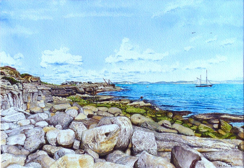 Ketch Off Red Crane, Portland Bill. Watercolour
