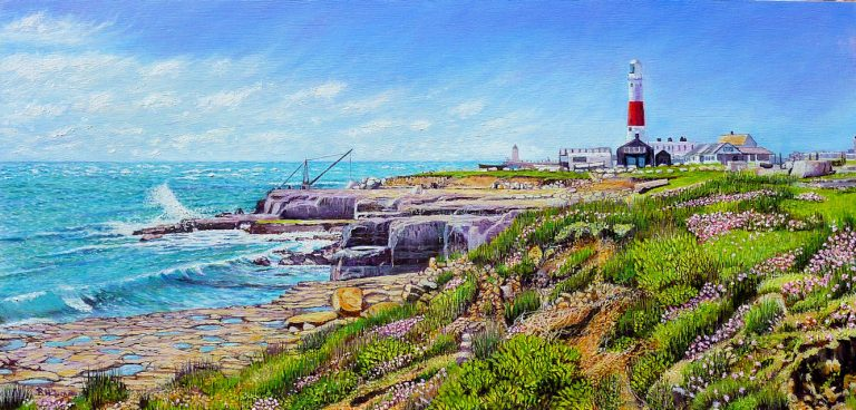 Portland Bill Lighthouse Oil Painting by Roger Turner