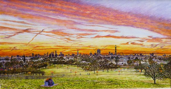 Primrose Hill London Skyline Sunrise Watercolour Painting By Roger Turner