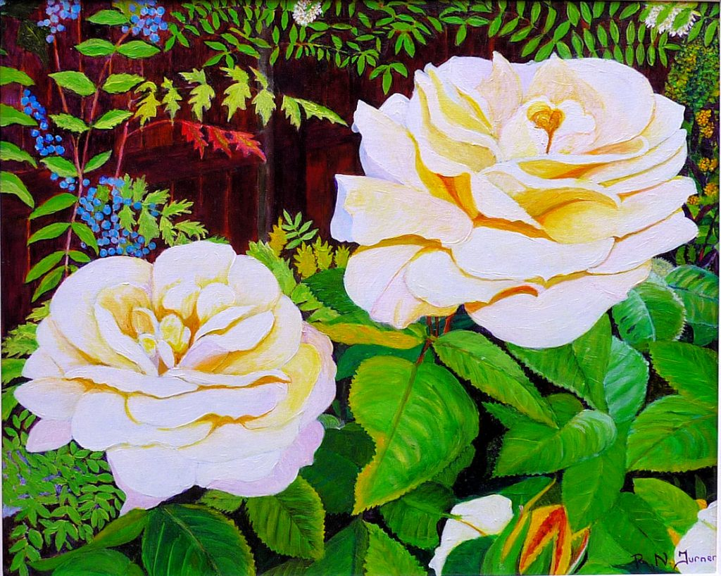 Rose By The Fence Acrylic Painting