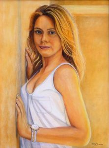 Smile From Corner Of The Room Pastel Painting By Roger Turner
