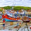Staithes Harbour At Low Tide Oil Painting By Roger Turner