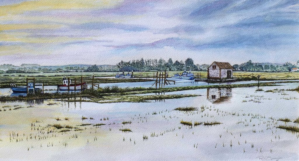 Sunrise At Thornham Creek Watercolour Painting