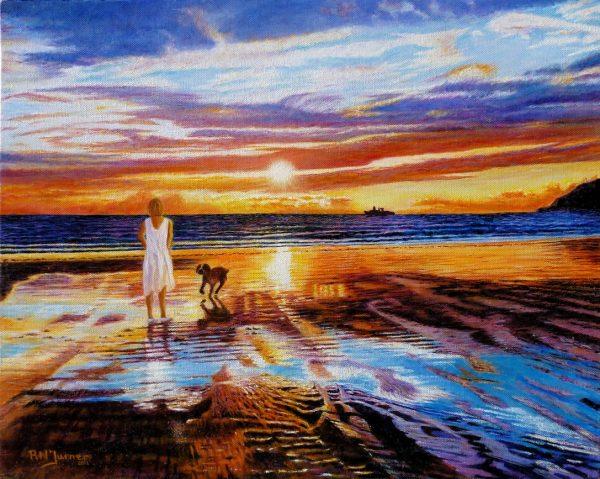 Sunset Farewell On Newport Beach By Roger Turner