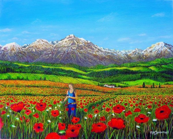 Texting The Poppies Acrylic Painting