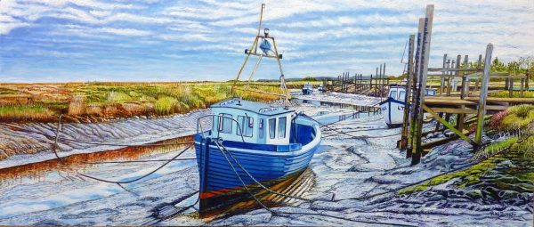 Thornham Creek Harbour At Low Tide Oil Painting By Roger Turner
