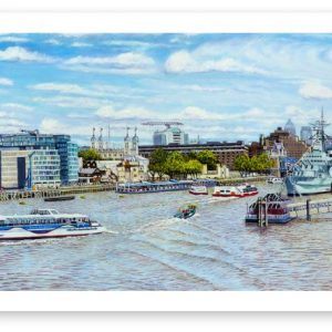 Limited Edition Giclée Print of Tower Bridge. HMS Belfast and the Thames