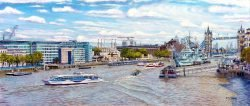 Tower Bridge. HMS Belfast and the Thames East from London Bridge