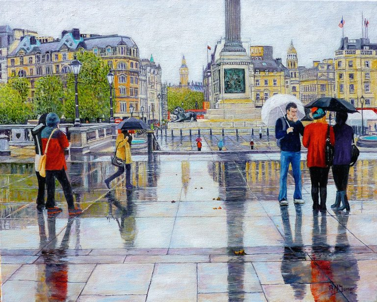 Trafalgar Square in the Rain. Original oil painting on canvas.