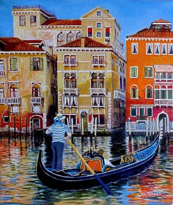 Venice Gondolier Oil Painting By Roger Turner