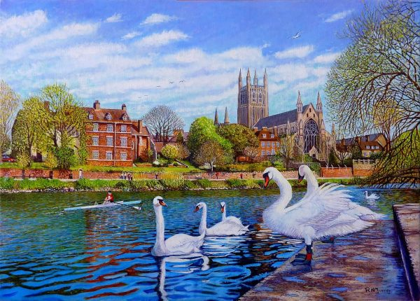 Worcester Cathedral From The RNIB Boathouse Steps Oil Painting by Roger Turner