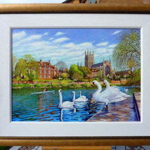 Worcester Cathedral From The RNIB Boathouse Steps