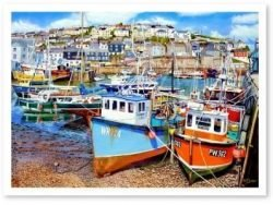 Signed Open Edition Giclée Prints of Mevagissey Harbour At Low Tide