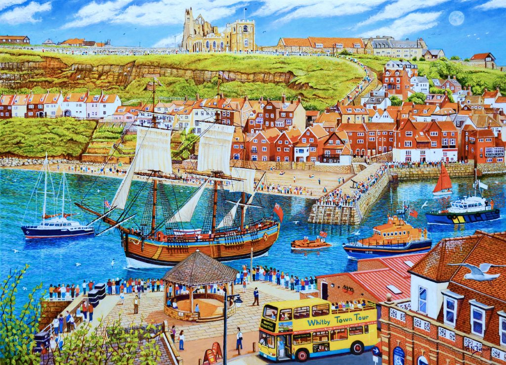 HMS Endeavour Leaving Whitby Harbour Oil Painting