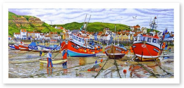 Signed Open Edition GicléePrints of Staithes Harbour At Low Tide