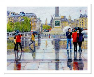 Signed Open Edition GicléePrints of Trafalgar Square in the Rain
