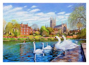 Signed Open Edition GicléePrints of Worcester Cathedral from the RNIB Boathouse Steps