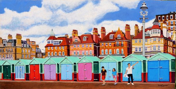 Hove Beach Huts Commissioned Acrylic Painting
