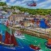 Looe Cornwall. Busy Cornish Lugger Regatta Days